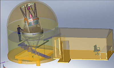 Original CAD design. 18' dome with 20x10 control room.