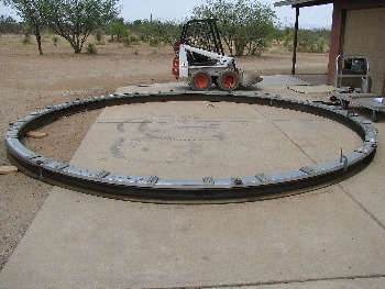 A 6x6 inch I-beam was custom bent into a circle to hold the roller ring